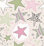 Seamless ornate pattern with stars. Starry hand drawn background. Doodle beautiful template Stock Photography