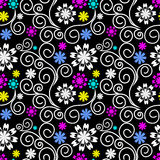 Seamless ornate Pattern with Swirls and colorful Flowers Stock Photography