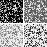 Seamless ornate Patterns with Swirls -  set Royalty Free Stock Photography