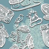 Seamless Ornate Winter Pattern (Vector) Stock Image