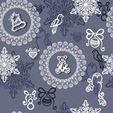 Seamless Ornate Winter Pattern (Vector) Royalty Free Stock Photo