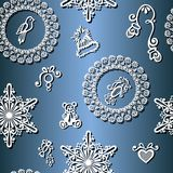 Seamless Ornate Winter Pattern (Vector) Stock Photography
