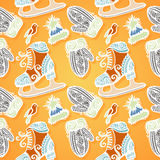 Seamless Ornate Winter Pattern (Vector) Royalty Free Stock Photography