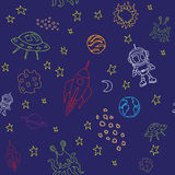 Seamless outer space pattern. With various space items Stock Image