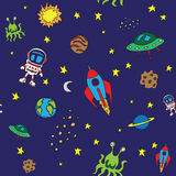 Seamless outer space pattern. With various space items Stock Photography
