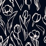 Seamless outline background made of tulips. Endless pattern for royalty free illustration