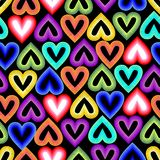 Seamless outline background with rainbow hearts Royalty Free Stock Photos