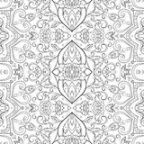 Seamless outline floral pattern Royalty Free Stock Photos