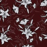 Seamless outline monotone flowers with bergundy color and leaves Royalty Free Stock Photo