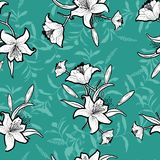 Seamless outline monotone flowers with vivid green mint color Royalty Free Stock Photos
