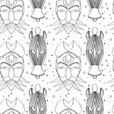 Seamless outline tribal mask pattern Royalty Free Stock Photo