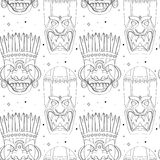 Seamless outline tribal mask pattern Stock Images