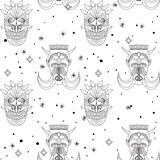 Seamless outline tribal mask pattern Stock Photo
