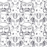 Seamless outline tribal mask pattern. Seamless outline pattern with tribal masks from various cultures. Hand drawn design for fashion, textile, fabric, wrapping Stock Photography