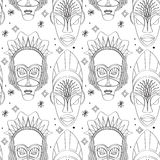 Seamless outline tribal mask pattern Royalty Free Stock Photography