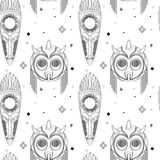 Seamless outline tribal mask pattern Royalty Free Stock Images