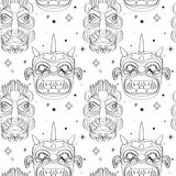 Seamless outline tribal mask pattern Stock Photography