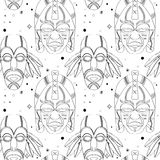 Seamless outline tribal mask pattern Royalty Free Stock Image