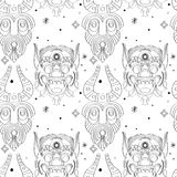 Seamless outline tribal mask pattern Royalty Free Stock Photos