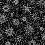 Seamless outlined snowflakes pattern. Royalty Free Stock Images