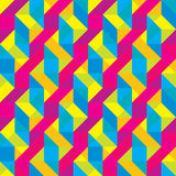 Seamless Overlaid Cmyk Polygonal Shapes Pattern Royalty Free Stock Image