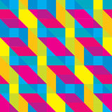 Seamless Overlaid Cmyk Polygonal Shapes Pattern Stock Photo