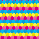Seamless Overlaid Cmyk Rounded Shapes Pattern Royalty Free Stock Photography