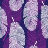 Seamless Overlapping Feathers Pattern on Purple and White. Seamless Overlapping Feathers Pattern in Purple and White. Unique Line Drawing Design royalty free illustration
