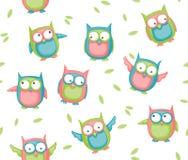 Seamless Owl Royaltyfri Fotografi