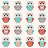 Seamless owl bird wallpaper Stock Photography