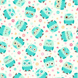 Seamless owl birds pattern Stock Images