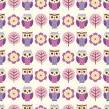 Seamless owl birds pattern Stock Photo