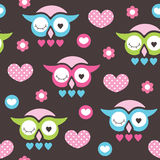 Seamless owl love and flower pattern vector illustration Stock Photos