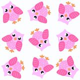 Seamless owl pattern. In pink colours Stock Image
