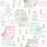 Seamless Owl Pattern. Seamless cross stitch owl pattern Royalty Free Stock Photo