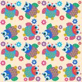 Seamless owl pattern. Seamless pattern with colorful cute owls Stock Image