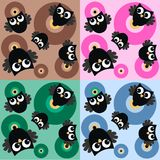 Seamless owl pattern. On four different background colours Royalty Free Stock Image