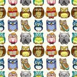 Seamless owl pattern. Cartoon vector illustration Stock Photo