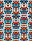 Seamless owl pattern. Seamless and colourful owl pattern on the gray background. Vector illustration Royalty Free Stock Photography