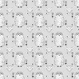 Seamless owl pattern. Cute  seamless white snowy owl pattern.  Bird background for kids. Childish doodle characters. Vector illustration in cartoon baby style Stock Photo