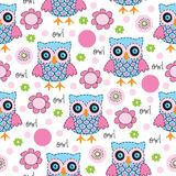 Seamless owl pattern vector illustration. Seamless colorful owl pattern vector illustration Royalty Free Stock Photo