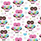 Seamless owl pattern vector illustration. Seamless colorful owl pattern vector illustration Stock Photo
