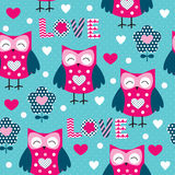 Seamless owl pattern vector illustration Royalty Free Stock Photography