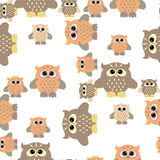 Seamless owl pattern. Vector seamless pattern with nice colorful owl Stock Photo