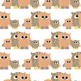 Seamless owl pattern. Vector seamless pattern with nice colorful owl Stock Photos