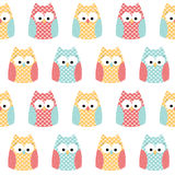 Seamless owls background stock images