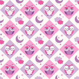 Seamless owls birds bedroom background Stock Photos