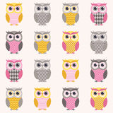 Seamless owls cartoon pattern Stock Images