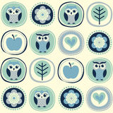 Seamless owls cartoon. With tree and flowers Stock Illustration