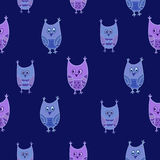 Seamless owls vector pattern. Stock Image